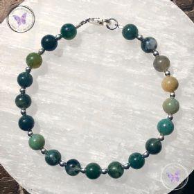 Moss Agate Silver Bead Bracelet